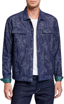 Robert Graham Men's Ares Floral-Patter Denim Jacket