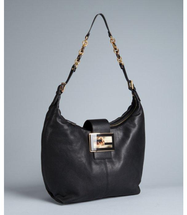 Fendi black leather 'Forever' shoulder bag