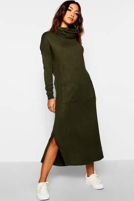 boohoo Roll Neck Knitted Pocket Jumper Dress