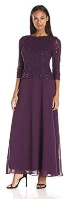 Alex Evenings Women's Long Mock Dress with Bodice and Illusion 3/4 Sleeves $169 thestylecure.com