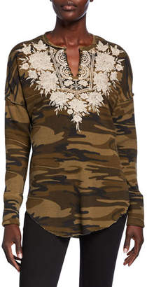 Johnny Was Christina Embroidered Thermal V-Neck Long-Sleeve Top