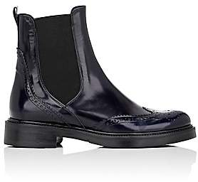 Barneys New York Women's Leather Wingtip Chelsea Boots-Navy