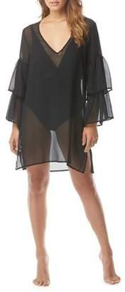 MICHAEL Michael Kors Ruffle-Sleeve V-Neck Chiffon Coverup