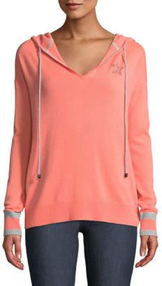 Lisa Todd Cashmere Drawstring Hoodie Sweater w/ Star Applique