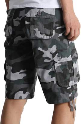 YUELANDE-Men Camouflage Cargo Shorts Big and Tall Loose Fit Plus Size Shorts 42