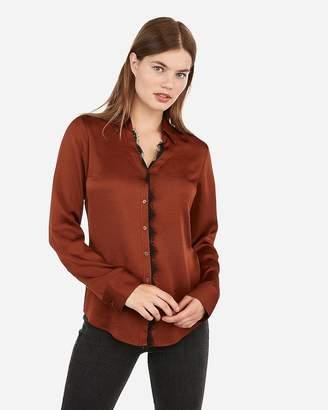 Express Slim Fit Contrast Lace Satin Portofino Shirt