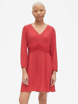 Gap Fit and Flare Long Sleeve Ruched V-Neck Dress