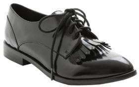 Kensie Peyton Faux Patent Leather Fringed Oxfords