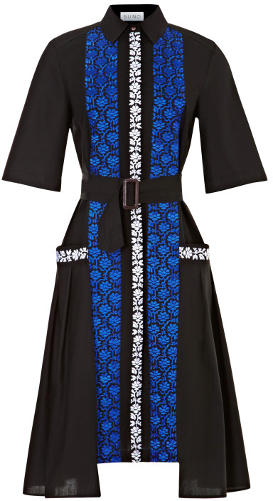 Suno Cotton Belted Shirtdress with Embroidery