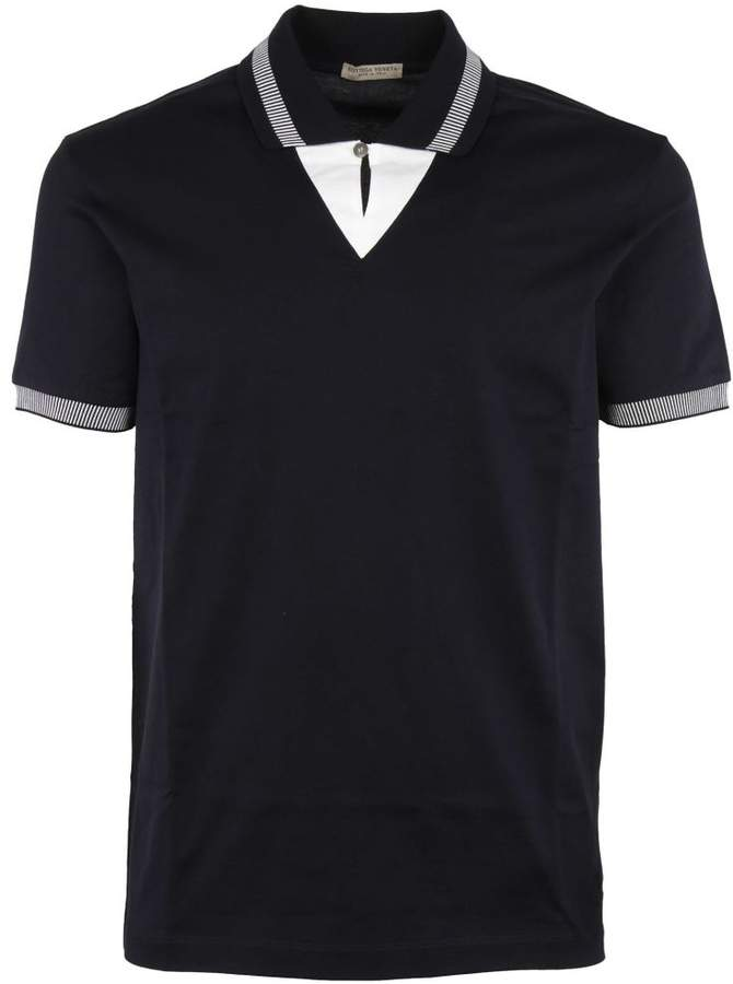 Bottega Veneta Striped Trim Polo Shirt