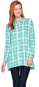 Joan Rivers Classics Collection Joan Rivers Plaid Swing Style Shirt