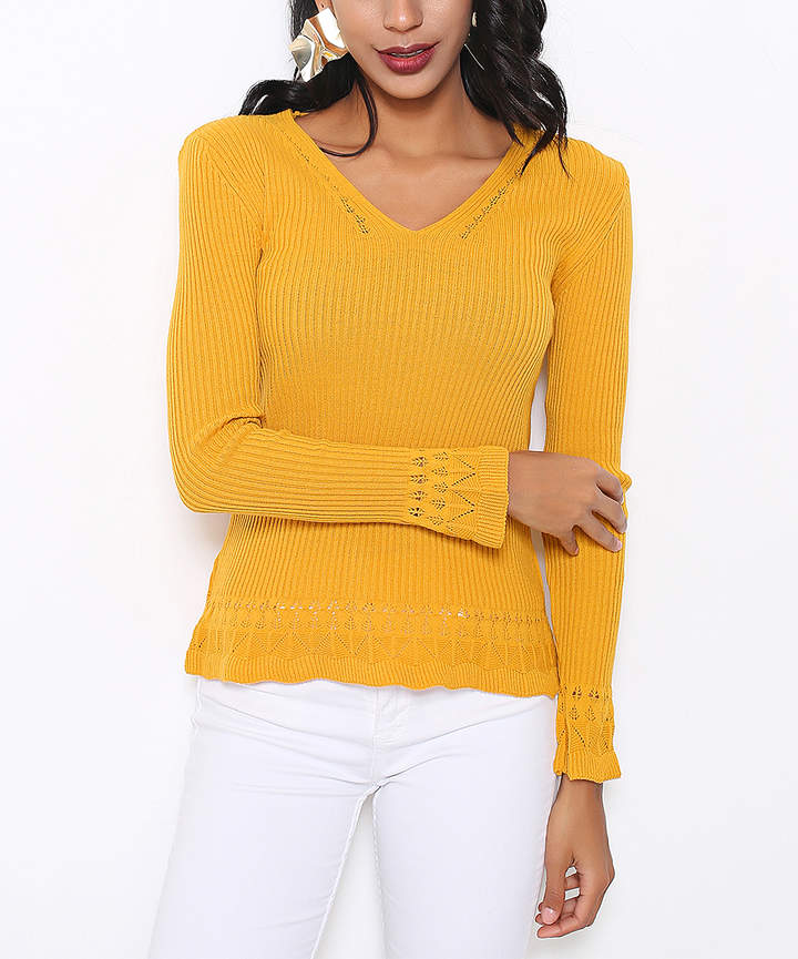 Mustard Knit-Trim Wool-Blend V-Neck Sweater - Women