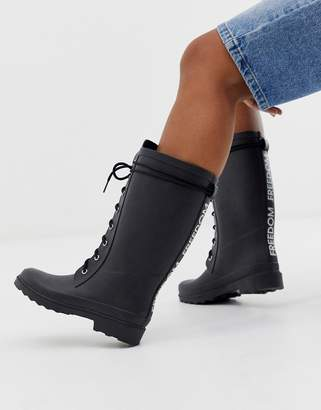 Asos Design DESIGN Ground chunky lace up rain boot in black