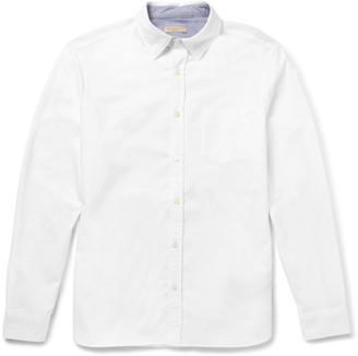 Burberry Brit Slim-Fit Chambray-Trimmed Cotton-Piqué Shirt $365 thestylecure.com