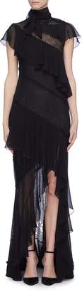 Philosophy di Lorenzo Serafini Sash tie neck ruffle tiered high-low dress