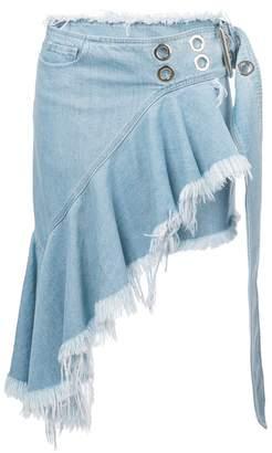 Marques Almeida Marques'almeida asymmetric raw hem denim mini skirt