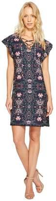 Jessica Simpson Printed Lace-Up Dress JS7A9420 Women's Dress