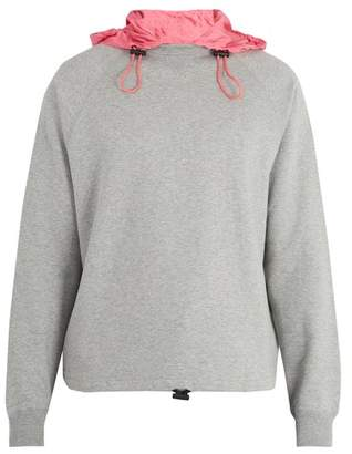 Valentino Contrast Hood Cotton Blend Sweatshirt - Mens - Grey