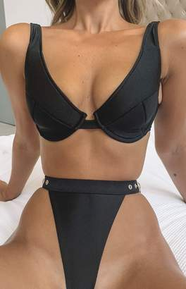 55bddfab21 9.0 Swim Serena Fuller Cup Bikini Top Metallic Black