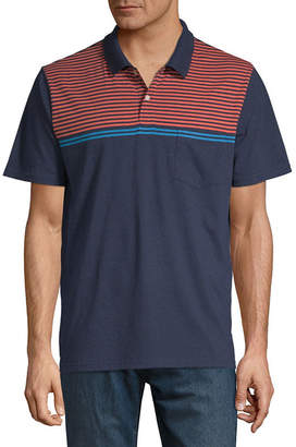 ST. JOHN'S BAY Easy Care Quick Dry Short Sleeve Stripe Jersey Polo Shirt