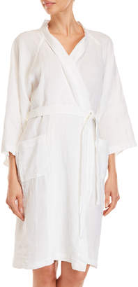 Kassatex Small/Medium White Linen Robe