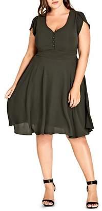 City Chic Plus Tulip-Sleeve Dress