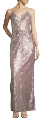 Adrianna Papell Striped Sequin Column Gown