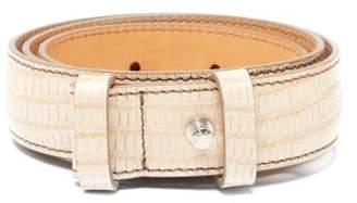 Acne Studios Lizard Effect Leather Belt - Womens - Cream