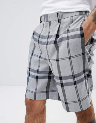 Asos Design DESIGN oversized shorts in light grey oversized check