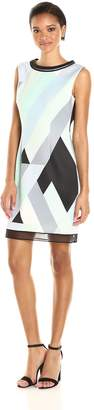Tahari by Arthur S. Levine Women's Printed Scuba Sheath Dress