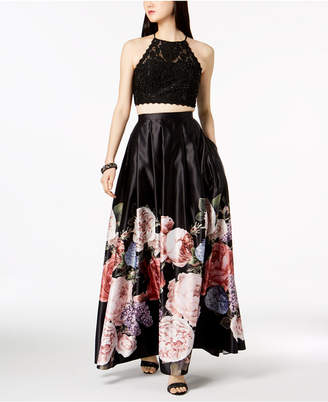 Betsy & Adam 2-Pc. Lace & Floral-Print Satin Gown