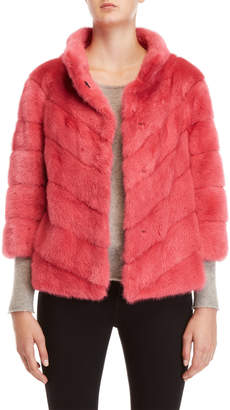 Yves Salomon Pink Real Fur Topper Coat