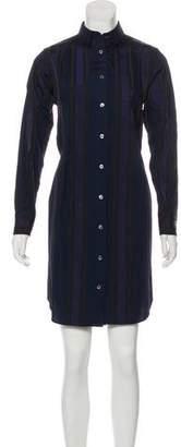 Sacai Striped Button-Up Knee-Length Dress