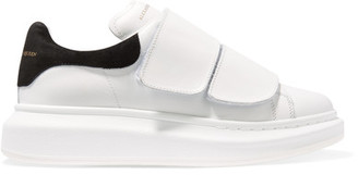 Alexander McQueen - Leather And Suede Exaggerated-sole Sneakers - White $575 thestylecure.com