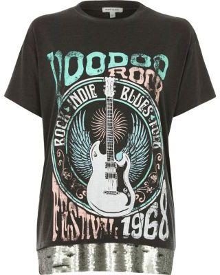 River Island Womens Dark grey voodoo print sequin T-Shirt
