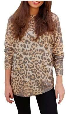 Luella Once Size Leopard Print Cashmere Blend Sweater - Copper/Brown