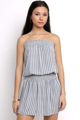 Veronica M Strapless Stripe Smocked Dress