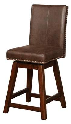 Linon Cedar Wood Swivel Counter Stool, Brown, 26 inch Seat Height
