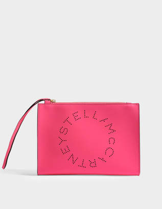 Stella McCartney Alter Nappa Stella Logo Flap Zip Bag in Neon Pink Cotton and Eco Leather