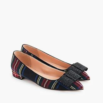 J.Crew Pointed-toe flat with bow in tartan