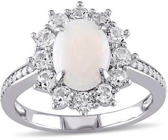 FINE JEWELRY Round Genuine Opal, White Topaz and 1/10 CT. T.W. Diamond Starburst Ring
