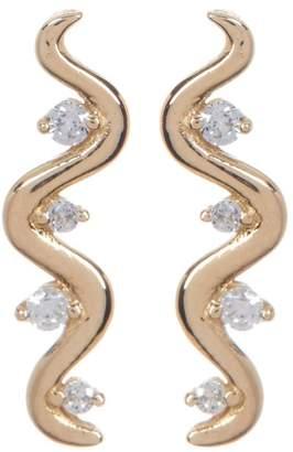Candela 14K Yellow Gold CZ Squiggle Stud Earrings