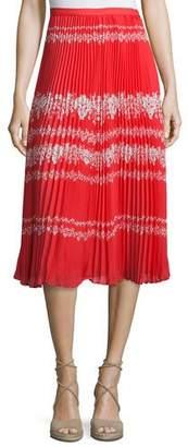 Self-Portrait Pleated Flower Spell Midi Skirt, Red/Cream $435 thestylecure.com