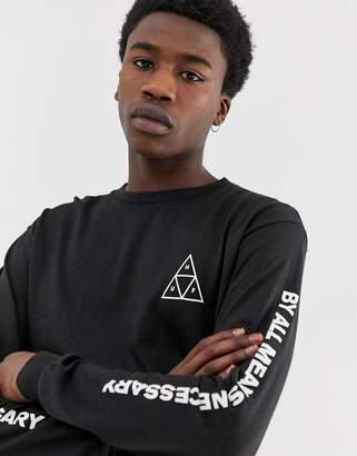 HUF Triple Triangle Long Sleeve T-Shirt In Black