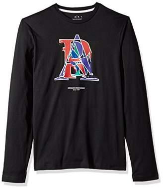 Armani Exchange A|X Men's LS Crew Neck Combined Letter Logo T-Shirt