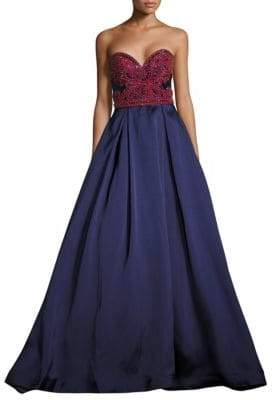 Mac Duggal Beaded Satin Strapless Gown