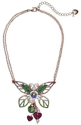 Betsey Johnson Colorful Pink and Green Tonal Butterfly Pendant Necklace Necklace