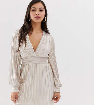 TFNC Petite Petite long sleeve mini pleated foiled dress