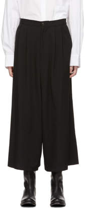 Y's Ys Black Tuck Flared Gabardine Trousers