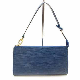 Louis Vuitton Vintage Pochette Accessoire Blue Leather Clutch Bag